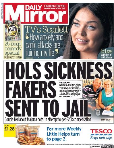 Daily Uk Front Page For 14 October 2015 Paperboy daily mirror uk front page for 14 october 2017