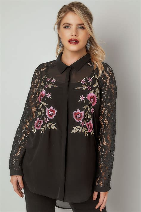 Sleeve Embroidered Shirt yours black floral embroidered shirt with lace