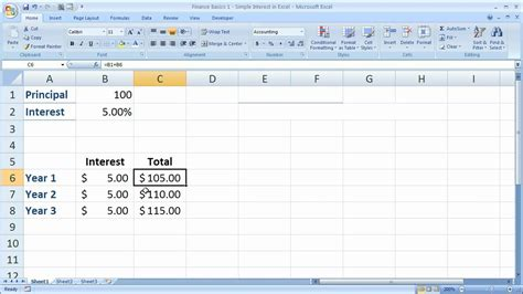 tutorial excel finance finance basics 1 simple interest in excel youtube
