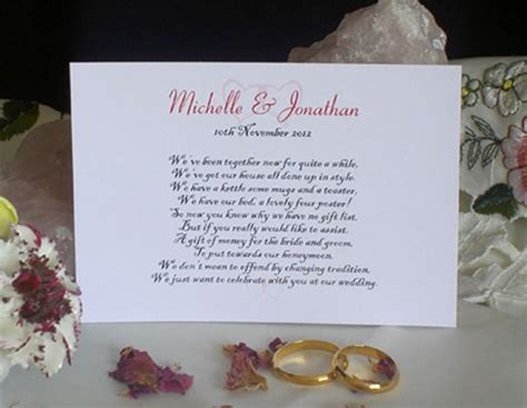 Wedding Invitation Card Poems by Personalised Wishing Well Money Request Poem Gift Cards