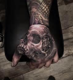 best hand tattoos skull amp clock hand tattoo best tattoo ideas amp designs