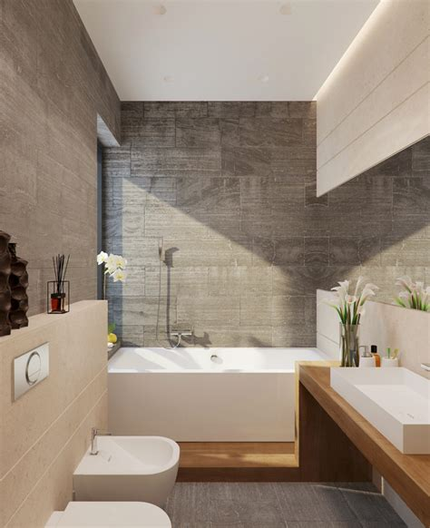 Modern Bathroom Tiles And Wood Home With Creative Fixtures