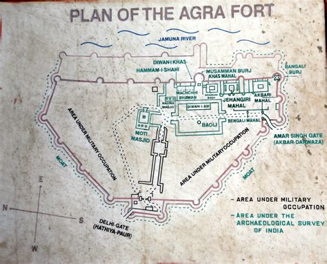 Layout Plan Of Red Fort | plan of agra fort on display at the fort 2008 info maps