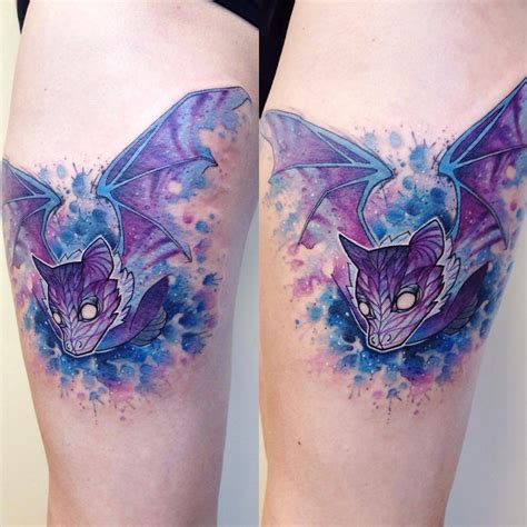 watercolor style tattoo watercolor style bat on the right thigh