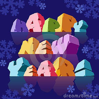 slogan happy new year on blue background stock photos