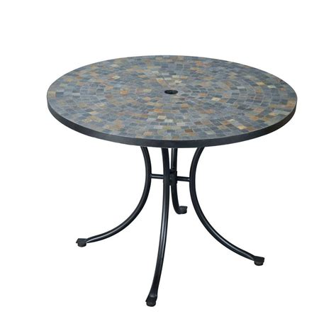 Home styles stone harbor 40 in round slate tile top patio dining table 5601 30 the home depot
