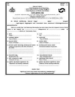 Karnataka Birth Certificate Pdf - Fill Online, Printable
