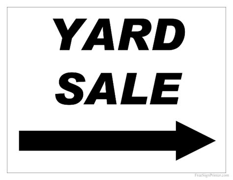templates for yard sale signs free printable yard sale sign with right arrow