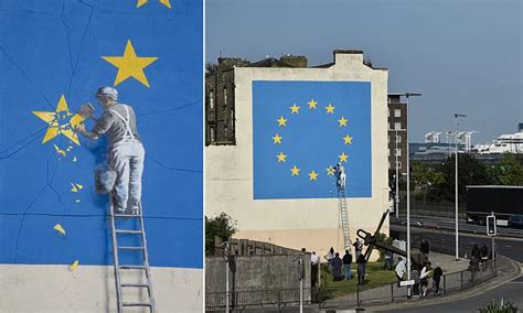 street artist banksy tackles brexit  dover mural daily