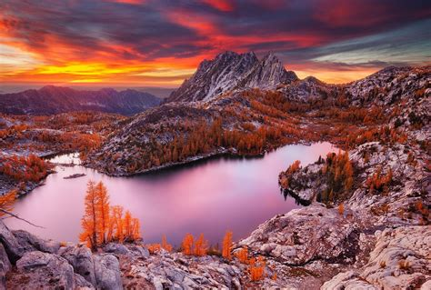 Dusk Autumn Forest Lake Water Nature Landscape Lake Mountain Sunset Fall Forest
