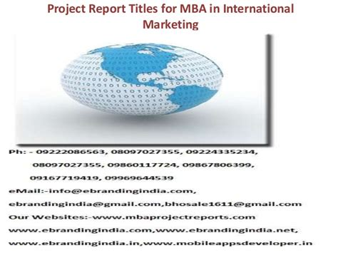 Openings For Mba Marketing by Project Report Titles For Mba In International Marketing