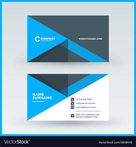 horizontal card template sided horizontal business card template vector image