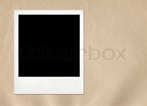 instant picture instant frame on paper background stock photo