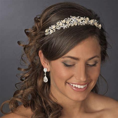 Wedding Hair Accessories Direct by Floral Rhinestone Chagne Elegance Bridal Headband Hp