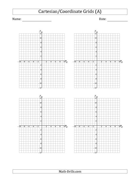 printable graph paper ks2 the 4 per page cartesian coordinate grids math worksheet