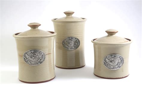pottery kitchen canister sets stoneware canister set vineyard motif kitchen and home