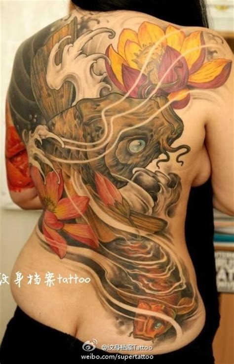 japanese back tattoo koi japanese fish and lotus flowers color ink tattoo on back