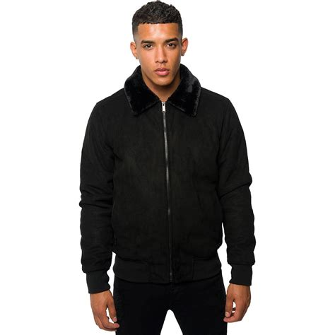 Zip Jacket With Collar loyalty faith mens faux suede aviator jacket fur collar