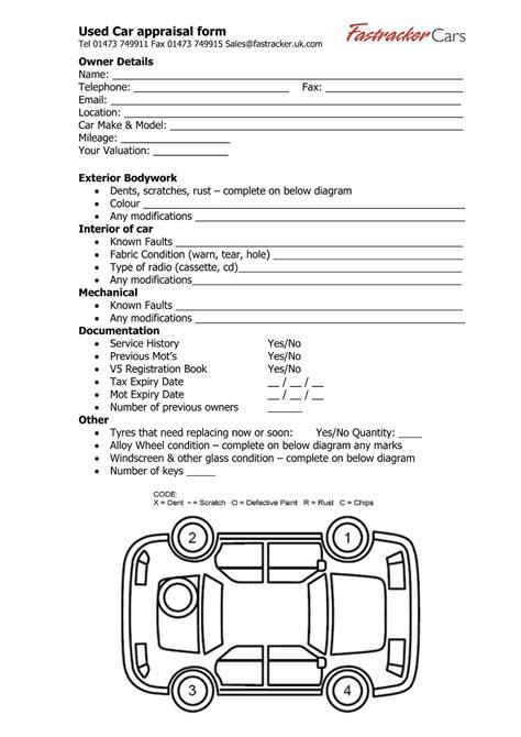 vehicle appraisal template car appraisal driverlayer search engine