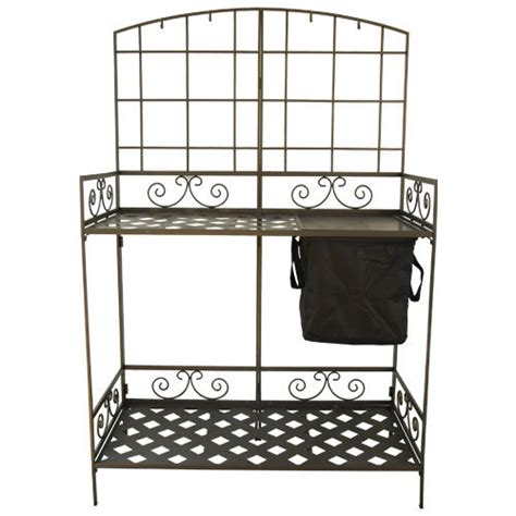 folding metal potting bench wrought iron decorative foldable potting bench gardeners