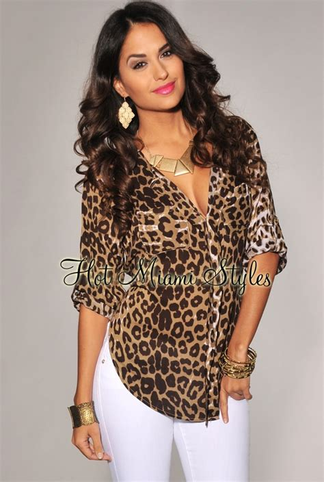 Leopard Print Sleeve Shirt brown leopard print rolled up sleeves shirt