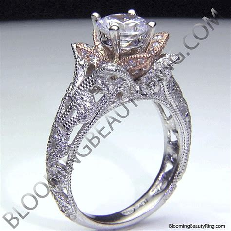 Wedding Rings That Look Like Flowers by Carved Blooming Flower Engagement Ring With