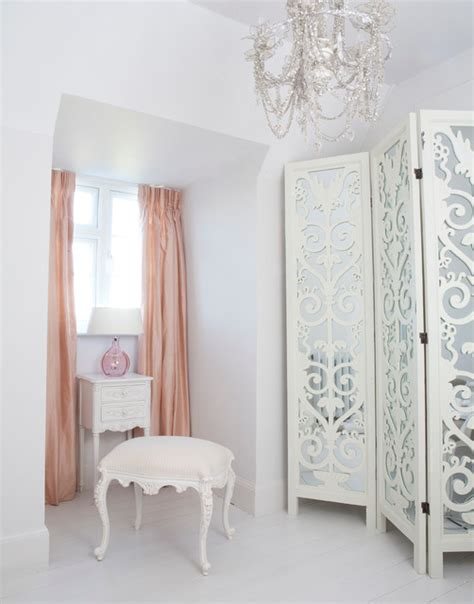 provencal white dressing stool in a beautiful dressing room shabby chic style bedroom