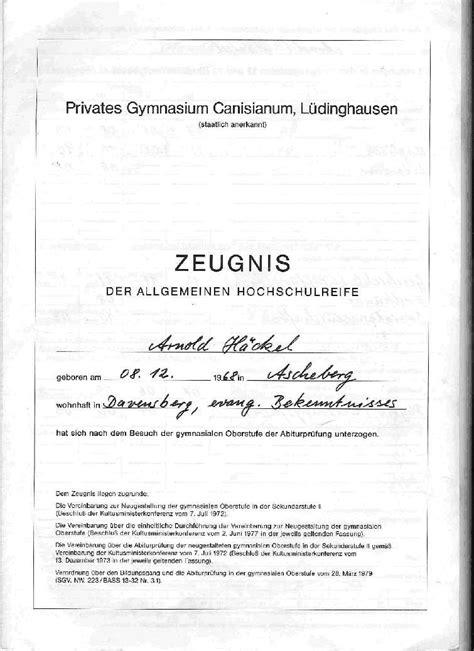 Bewerbung Abiturzeugnis Abiturzeugnis