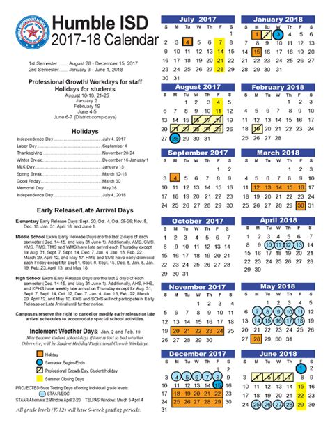 pace program humble isd calendar