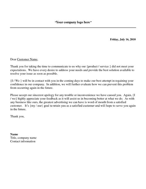 business letter addressing a problem business apology letter sle as doc images