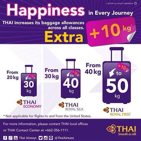 united baggage allowance coupons news details news annoucement thai airways