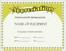 free templates for certificate of appreciation certificate of appreciation template 13 in