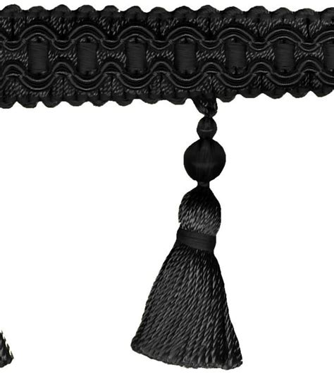 home decor trim signature series 2 5 black tassel fringe