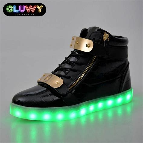 led light up shoes light up shoes led black and gold cool mania