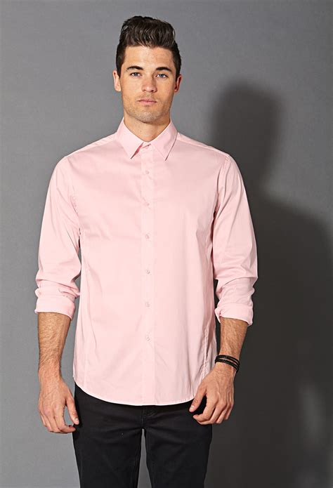 light pink mens dress shirt forever 21 fitted dress shirt in pink for lyst