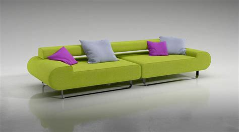 Lime Green Sofa With Pillows 3d Model Cgtrader Com