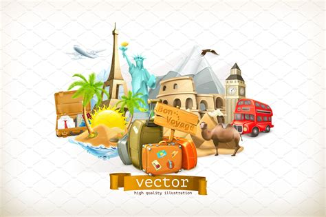 travel  vacation attractions icons creative market