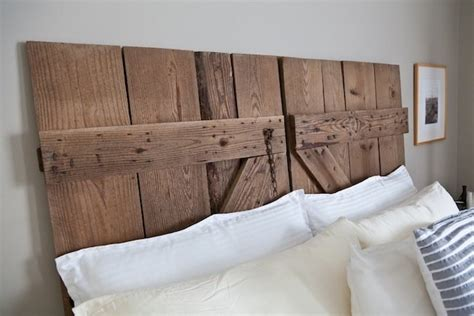 diy door headboard diy reclaimed barn door headboard bob vila