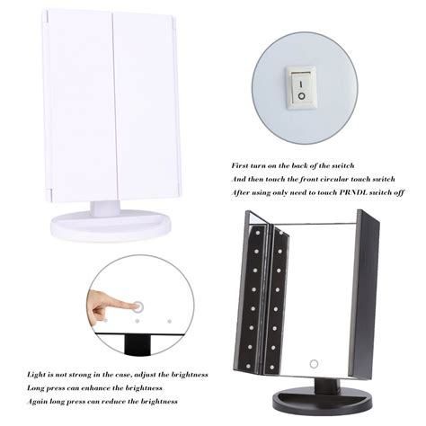 Led Popular Convenient Touch Table L Aa Sj001 portable three sides foldable led luminous dimmable makeup table mirror ebay