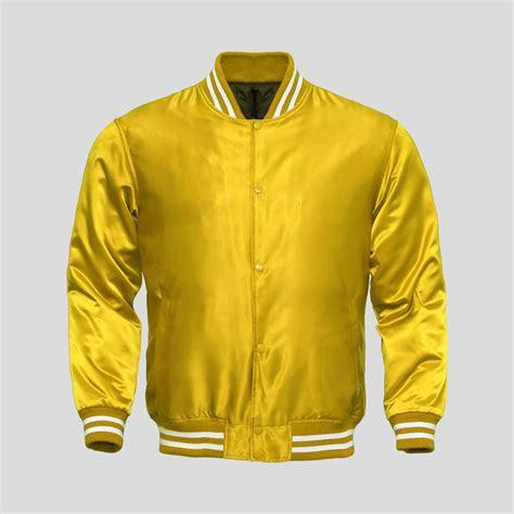 Jaket Yellow yellow satin baseball jacket