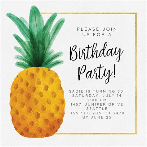 watercolor pineapple birthday invitation template