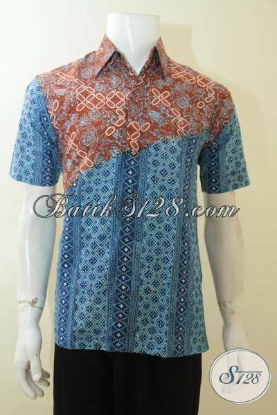 Baju Hem Biru Dongker trend baju batik dua motif buatan hem batik warna biru kombinasi orange pakaian batik cap