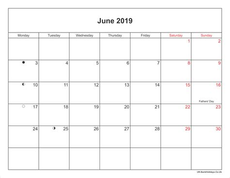 june  calendar printable  bank holidays uk