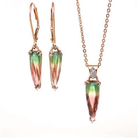 Watermelon Tourmaline Pendant and Earring Set   T.K