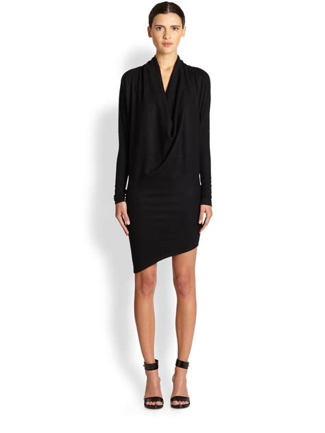 asymmetrical draped dress helmut lang sonar asymmetrical draped wool dress in black