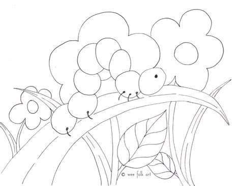 inchworm coloring page wee folk art
