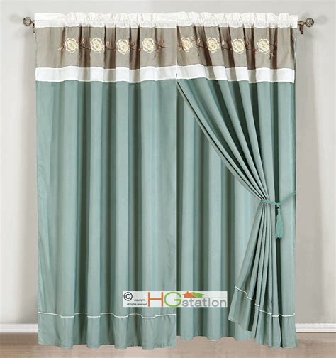 White And Silver Valance 4 Pc Embroidery Pleated Floral Curtain Set Sea Green Blue