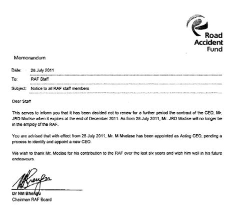 www application letter co za letter raf ceo s contract terminated moneyweb