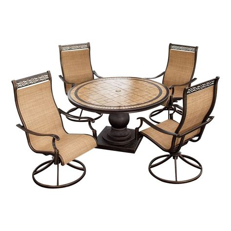 Shop Hanover Outdoor Furniture Monaco 5 Piece Bronze Stone Patio Furniture 5 Set
