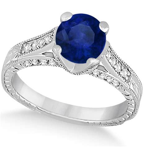 blue sapphire antique engagement ring 14k white